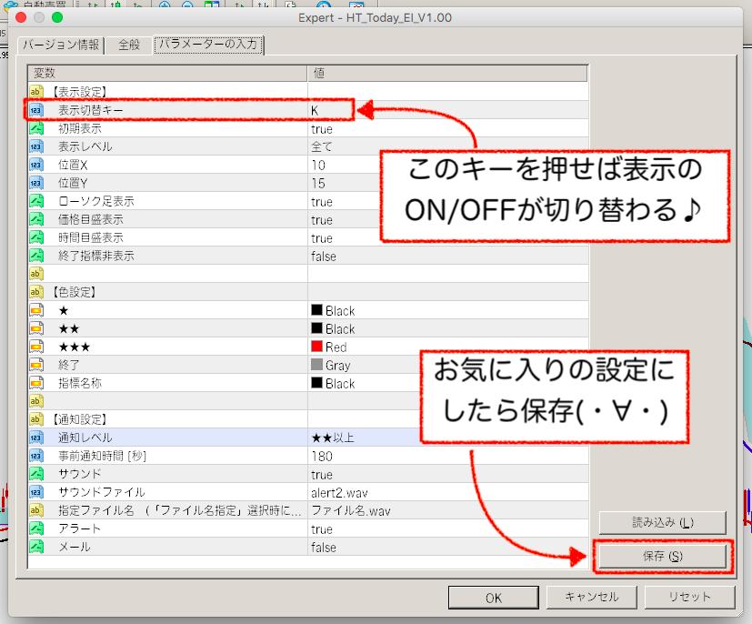 指標通知ツールの設定変更と保存
