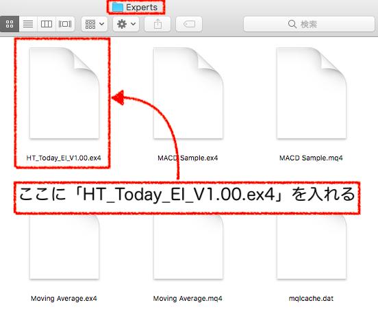 「Experts」フォルダに「HT_Today_EI_V1.00.ex4」を入れる