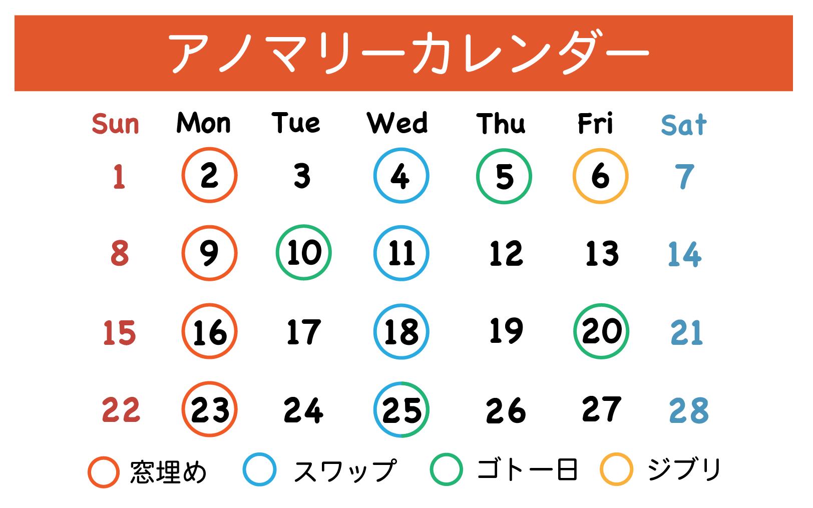 アノマリーカレンダー
